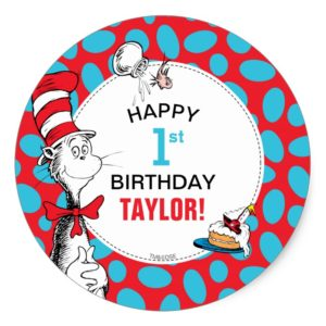 Dr. Seuss | The Cat in the Hat Birthday Classic Round Sticker