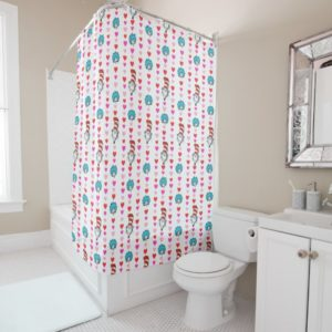 Dr. Seuss Valentine | Cat in the Hat Heart Pattern Shower Curtain