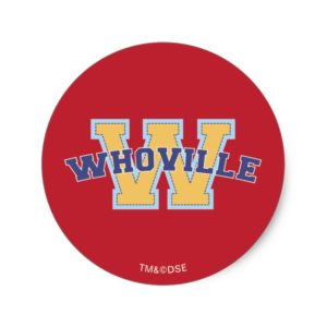 Dr. Seuss   Whoville Athletic Logo Classic Round Sticker
