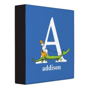 Dr. Seuss's ABC: Letter A - White | Add Your Name 3 Ring Binder