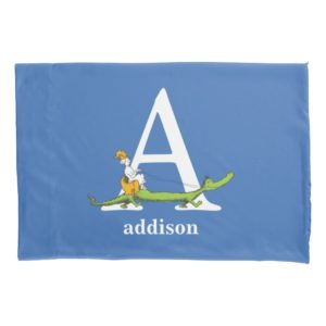 Dr. Seuss's ABC: Letter A - White | Add Your Name Pillow Case