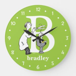 Dr. Seuss's ABC: Letter B - White | Add Your Name Large Clock