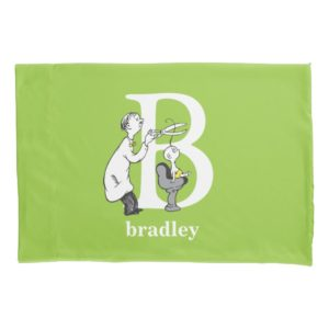 Dr. Seuss's ABC: Letter B - White | Add Your Name Pillow Case