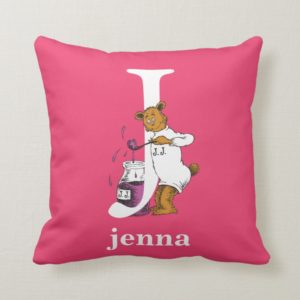 Dr. Seuss's ABC: Letter J - White | Add Your Name Throw Pillow