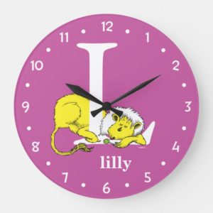 Dr. Seuss's ABC: Letter L - White   Add Your Name Large Clock