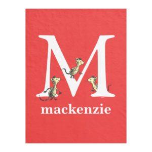 Dr. Seuss's ABC: Letter M - White   Add Your Name Fleece Blanket