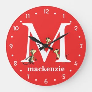 Dr. Seuss's ABC: Letter M - White   Add Your Name Large Clock