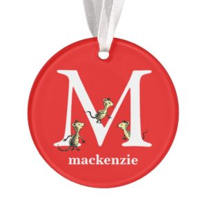Dr. Seuss's ABC: Letter M - White | Add Your Name Ornament