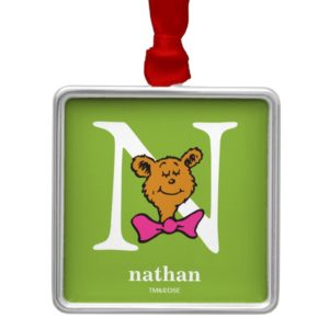 Dr. Seuss's ABC: Letter N - White | Add Your Name Metal Ornament
