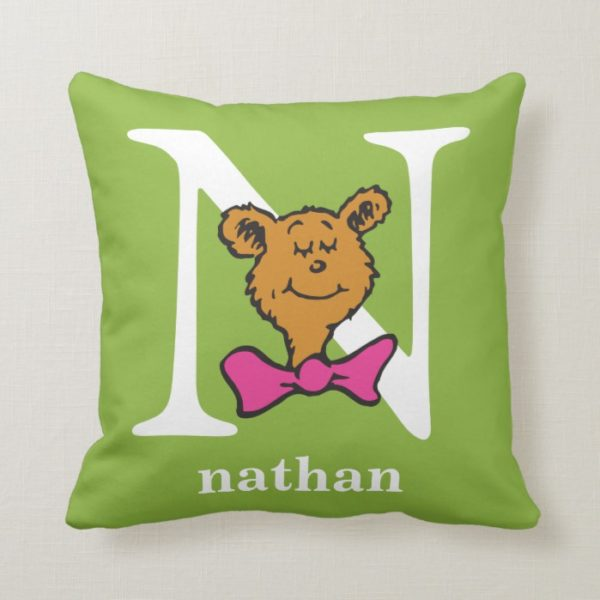 Dr. Seuss's ABC: Letter N - White   Add Your Name Throw Pillow