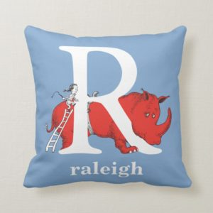Dr. Seuss's ABC: Letter R - White   Add Your Name Throw Pillow