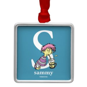 Dr. Seuss's ABC: Letter S - White | Add Your Name Metal Ornament
