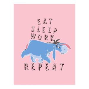 Eeyore | Eat Sleep Work Repeat Postcard