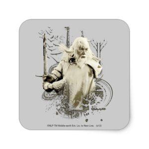GANDALF™ with Sword Vector Collage Square Sticker