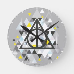 Harry Potter | Geometric Deathly Hallows Symbol Round Clock