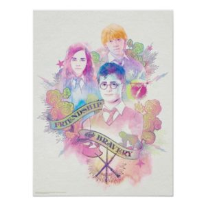 Harry Potter Spell   Harry, Hermione, & Ron Waterc Poster