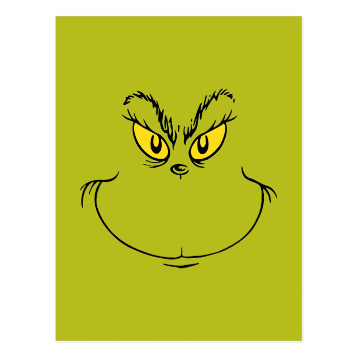 picture relating to Printable Grinch Face identify How the Grinch Stole Xmas Confront Postcard