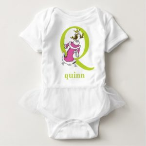 Dr. Seuss's ABC: Letter Q - Green | Add Your Name Baby Bodysuit