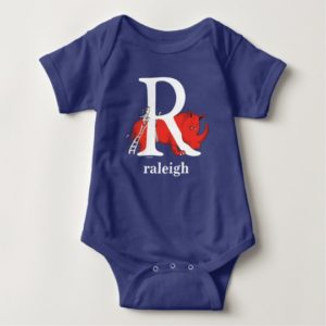 Dr. Seuss's ABC: Letter R - White   Add Your Name Baby Bodysuit