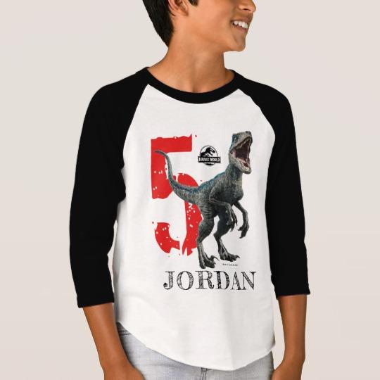 97669d42 Jurassic World   Birthday - Name & Age T-Shirt - Custom Fan Art