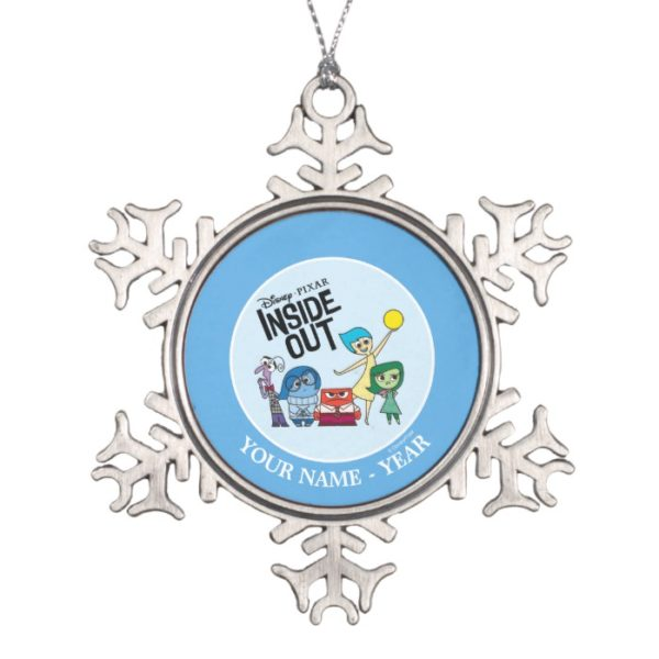 Inside Out | Characters and Inside Out Logo Snowflake Pewter Christmas Ornament