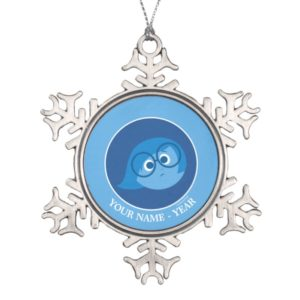 Inside Out | Sadness Face Add Your Name Snowflake Pewter Christmas Ornament