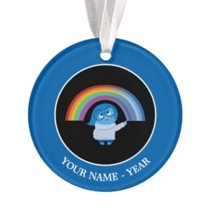Inside Out   Sadness With Rainbow Add Your Name Ornament