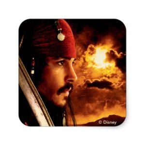 Jack Sparrow Side Face Shot Square Sticker