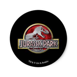 Jurassic Park | Metal Logo Classic Round Sticker