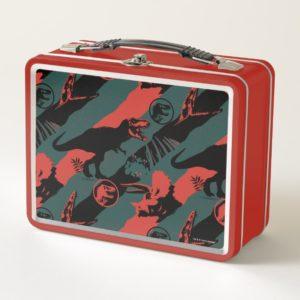 Jurassic World | Black, Red & Grey Pattern Metal Lunch Box