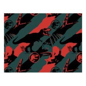Jurassic World | Black, Red & Grey Pattern Postcard
