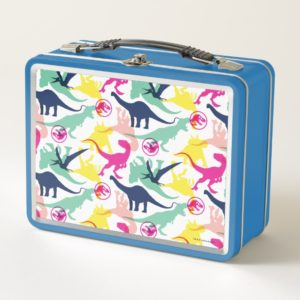 Jurassic World   Colorful Silhouette Pattern Metal Lunch Box
