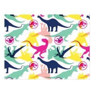 Jurassic World   Colorful Silhouette Pattern Postcard