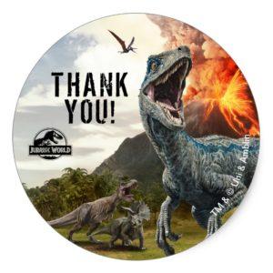 Jurassic World | Dinosaur Birthday Thank You Classic Round Sticker