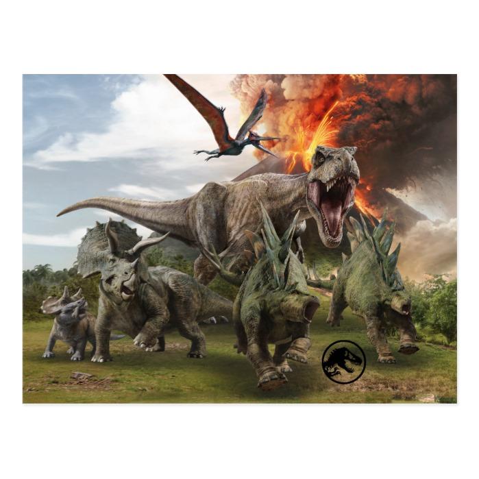 Jurassic World Dinosaur Herd Postcard