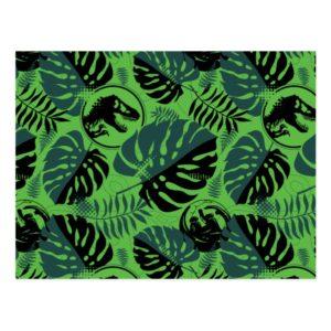 Jurassic World   Green & Black Jungle Pattern Postcard