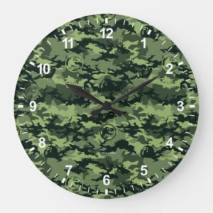 Jurassic World | Green Dinosaur Camo Pattern Large Clock