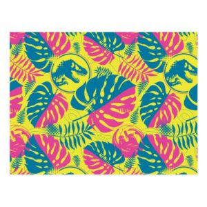 Jurassic World | Pink & Yellow Jungle Pattern Postcard