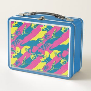 Jurassic World | Pink & Yellow Stripe Pattern Metal Lunch Box