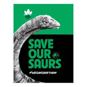 Jurassic World   Save Our Saurs Postcard