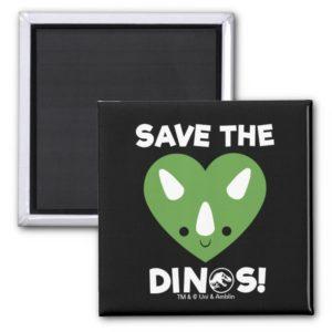 Jurassic World   Save the Dinos - Green Heart Magnet