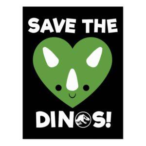 Jurassic World | Save the Dinos - Green Heart Postcard