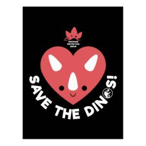 Jurassic World   Save the Dinos - Pink Heart Postcard