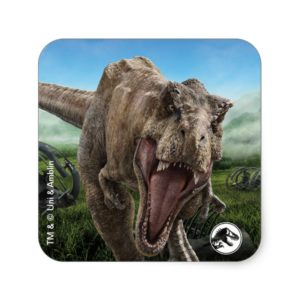 Jurassic World   T. Rex - Instinct to Hunt Square Sticker