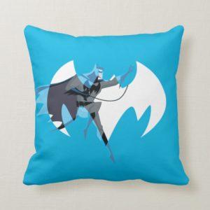 Justice League Action   Batman Over Bat Emblem Throw Pillow