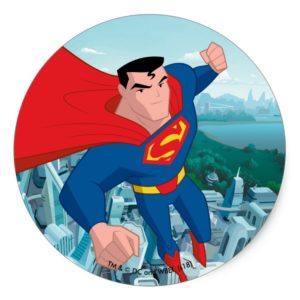 Justice League Action | Superman Character Art Classic Round Sticker