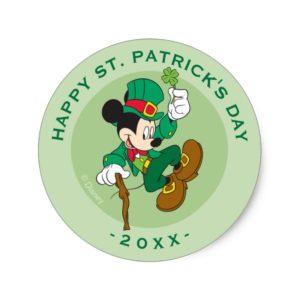 Leprechaun Mickey Mouse | St. Patrick's Day Classic Round Sticker