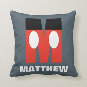 M is for Mickey   Add Your Name Throw Pillow
