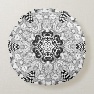 Mad Hatter Kaleidoscope Round Pillow