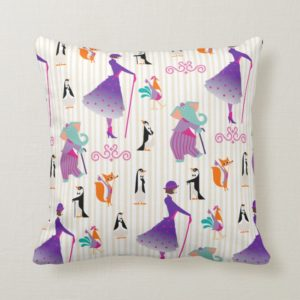 Mary Poppins & Friends Striped Pattern Throw Pillow